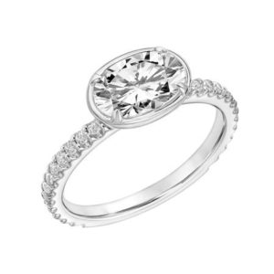 Contemporary East-West Oval Diamond Engagement