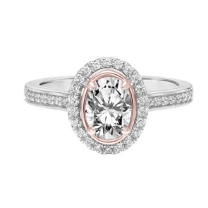 Oval Halo Diamond Engagement Ring with White and Rose Gold