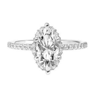 Hidden Halo Marquise Diamond Engagement Ring