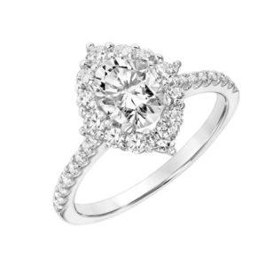 Multi Diamond Oval Halo Engagement Ring