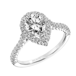 """Melissa"" Pear Shaped Halo Engagement Ring"