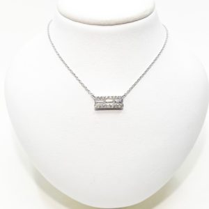 Dainty Baguette Diamond Bar Necklace