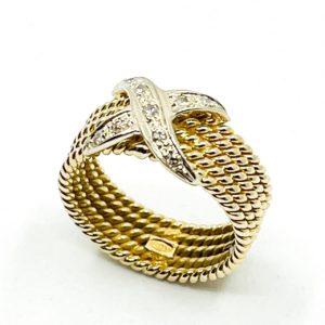"Stacked Diamond ""X"" Ring"